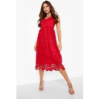 Womens Strappy Crochet Lace Skater Midi Dress - Red - 16, Red