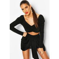 Womens Slinky Puff Sleeve Crop And Drape Skirt Co-ord - black - 12, Black