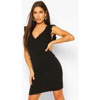 Womens Premium Ruffle Pointelle Wrap Front Dress - Black - L, Black