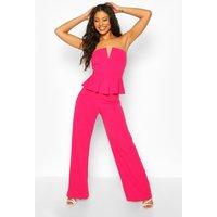 Womens V Bar Detail Peplum Waist Jumpsuit - Pink - 8, Pink