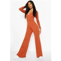 Womens Ribbed Button Detail Wide Leg Jumpsuit - orange - 14, Orange