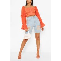 Womens Woven Ruffle Blouson Sleeve Blouse - Orange - 6, Orange