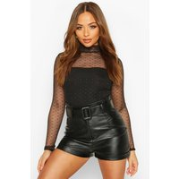 Womens Dobby Mesh High Neck Bodysuit - Black - 8, Black