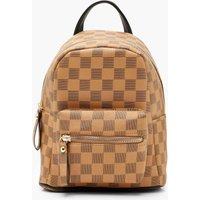 Womens All Over Check Mini Rucksack - Brown - One Size,