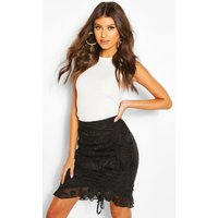 Womens Textured Floral Ruched Ruffle Mini Skirt - Black - 8, Black