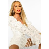 Womens Broderie Anglaise Puff Sleeve Lace Up Playsuit - white - 8, White