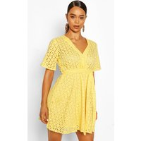 Womens Broderie Wrap Kimono Sleeve Belted Skater Dress - Yellow - 8, Yellow