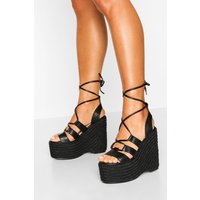 Womens Wrap Up Espadrille Platform Wedges - Black - 7, Black