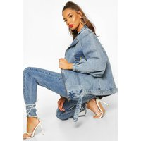 Womens Overszied 80's Style Denim Jacket - blue - 6, Blue