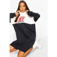 Womens Roll Neck Colour Block Slogan Sweatshirt Dress - Navy - 10, Navy
