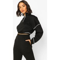 Contrast Half Zip jumper - black - 12, Black