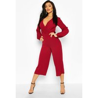 Womens Wrap Front Blouson Sleeve Wide Leg Jumpsuit - red - 14, Red
