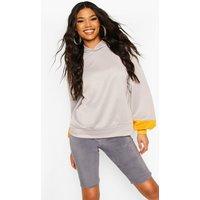 Womens Brooklyn Contrast Stripe Oversized Sweat Hoodie - grey - 12, Grey