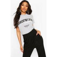 Camiseta ancha con eslogan Brooklyn, Gris