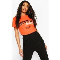 Camiseta ancha con eslogan Brooklyn, Naranja