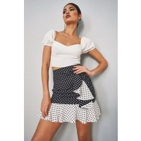 Womens Mixed Polka Dot Ruffle Mix Skirt - Black - 12, Black