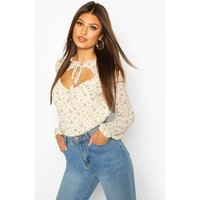 Womens Floral Tie Front Blouse - white - 10, White