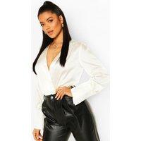 Womens Satin Oversized Cuff Bodysuit - White - 6, White