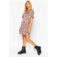 Womens Smudge Print Ruffle Sleeve Skater Dress - Pink - 8, Pink