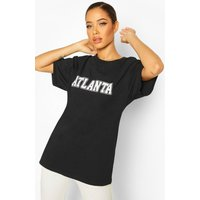Womens Oversized Atlanta Slogan Tee - black - S, Black