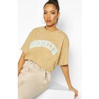 Camiseta ancha Brooklyn Graphic, Beige
