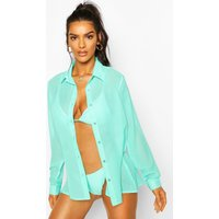 Womens Oversized Beach Shirt - Blue - 10, Blue
