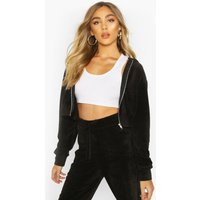 Womens Premium Soft Velour Zip Through Hoodie - black - 8, Black