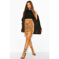Womens Dalmation Print Drawcord Ruched Mini Skirt - Brown - 8, Brown