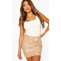 Womens Belted Leather Look Mini Skirt - Beige - 10, Beige