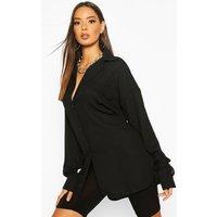Womens Woven Pocket Detail Oversized Shirt - black - 10, Black