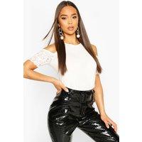 Womens Eyelash Lace Short Sleeve Top - white - 14, White