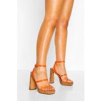Womens Wide Fit Cork Triple Strap Platforms - Orange - 3, Orange