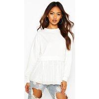 Womens Mesh Ruffle Sweatshirt - White - 6, White