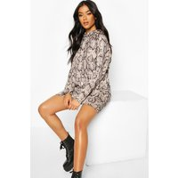 Womens Snake Print Hooded Sweatshirt - Beige - 14, Beige