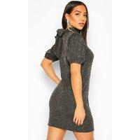 Womens Tie Back Swing Dress In Glitter Print - Metallics - 8, Metallics