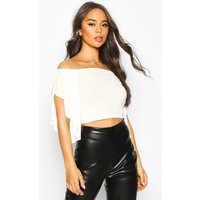 Womens Waterfall Sleeve Fitted Top - white - 10, White