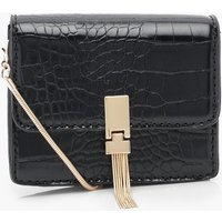 Womens Croc Metal Tassel Cross Body Bag - Black - One Size, Black