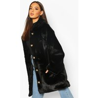 Womens Oversized Collared Faux Fur Coat - Black - 16, Black