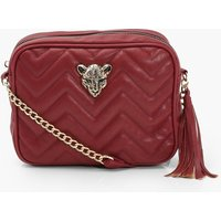 Cheetah Hardware Quilted Cross Body Bag, Burgundy