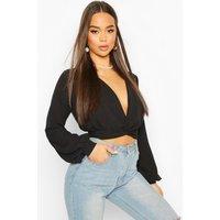 Womens Twist Front Plunge Crop Woven Blouse - Black - 12, Black