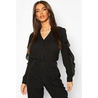Womens Woven Ruffle Detail Button Through Blouse - black - 8, Black