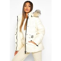 Womens Faux Fur Trim Belted Parka Coat - white - 12, White