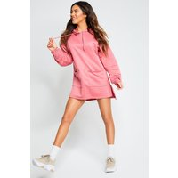 Womens Recycled Batwing Hooded Sweat Dress - pink - 10, Pink