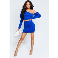 Womens Recycled Puff Sleeve Crop Mini Skirt Co-Ord - blue - 18, Blue