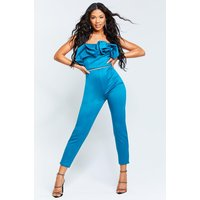 Womens Recycled Bandeau Jumpsuit With Scrunched Ruffle - Green - 22, Green