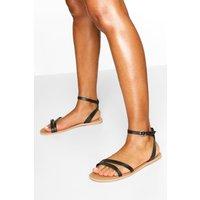 Womens Wide Fit Leather 2 Part Sandals - Black - 5, Black