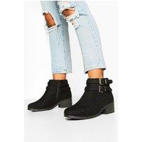 Womens Wide Fit Two Buckle Block Heel Chelsea Boots - black - 5, Black