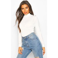 Womens Rib Combo Top With Shoulder Button Detail - white - 12, White
