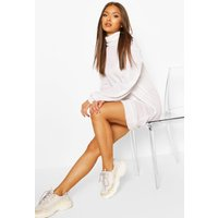 Womens Brushed Puff Sleeve Shift Dress - White - 16, White