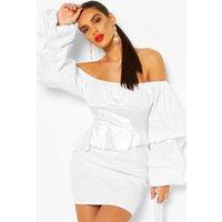 Womens Off The Shoulder Peplum Corset Mini Dress - white - 12, White
